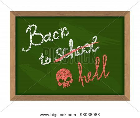 Back To School (crossed Out In Hell). The Inscription On The Green Chalk Blackboard. Dreary Time To
