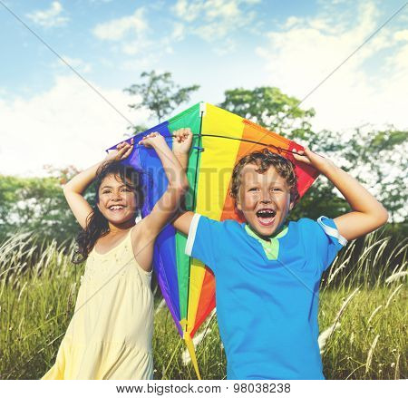 Children Playing Kite Happiness Cheerful Summer Concept
