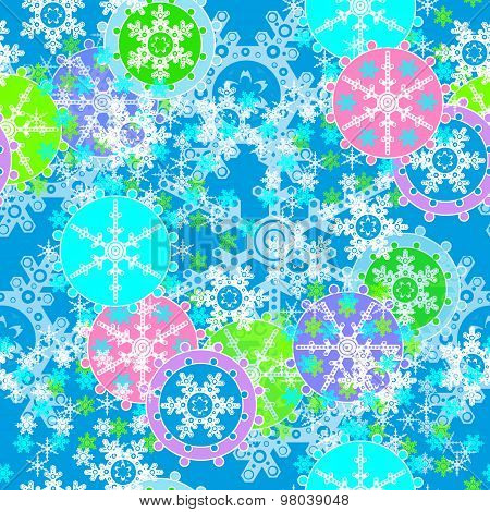 Merry Christmas And Happy New Year Background With Snowflakes