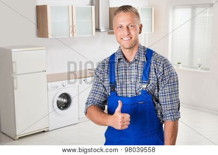 Repairman Showing Thumbs Up Sign