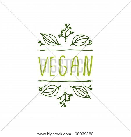 Vegan product label on white background.
