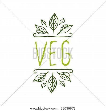 Veg product label on white background.
