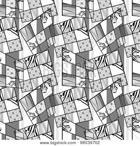 Patchwork Seamless Retro Monochrome Pattern Modern Background