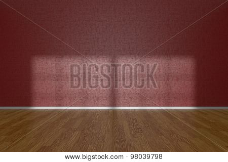 Red Wall Of Empty Room With Parquet Floor