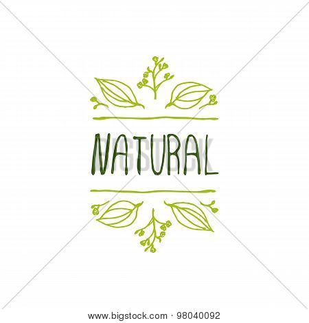 Natural product label on white background.