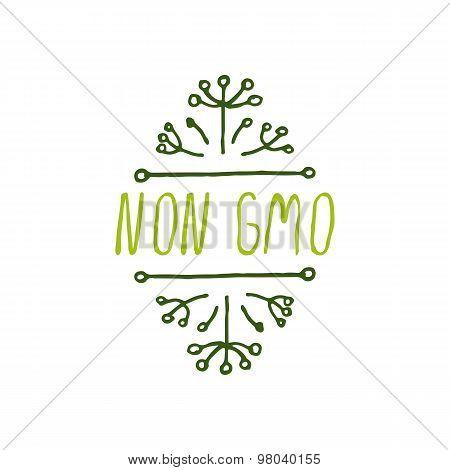 Non GMO - product label on white background.
