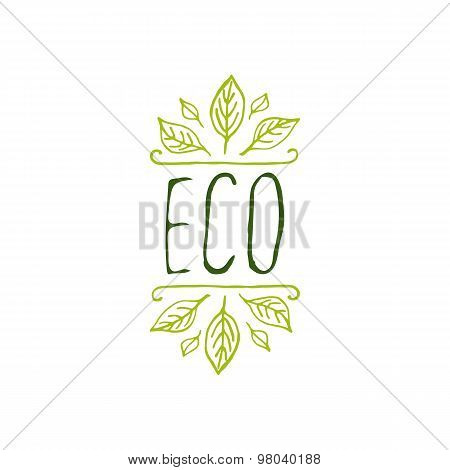 Eco product label on white background.