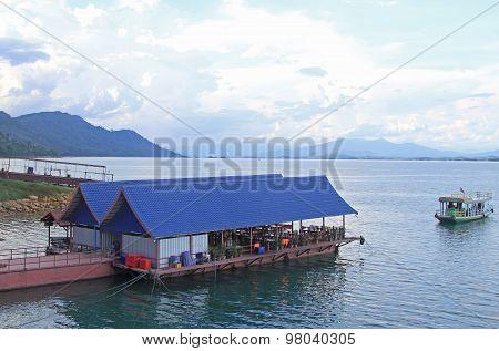 floating restaurant on the shore of Nam Ngum Reservoir