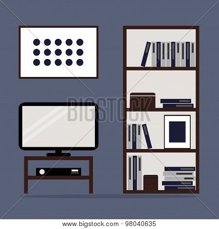Living room interior design with bookcase and TV.
