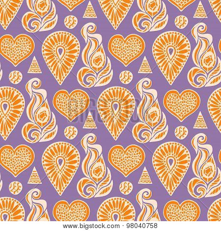 Fashion seamless pattern with ethnic lace element and crystals in orange, purple colors