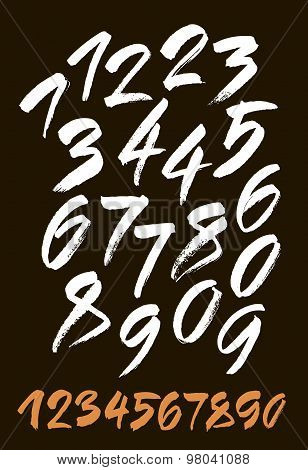 vector set of calligraphic acrylic or ink numbers