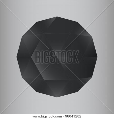 3d dark geometric realistic polygon sphere