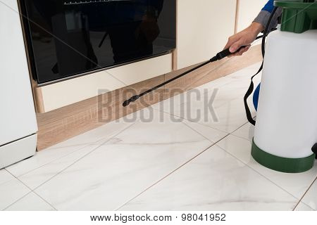 Person Hands Spraying Insecticide