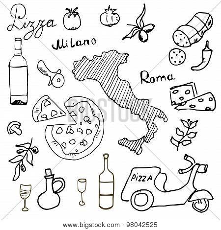Italy Doodles Elements. Hand Drawn Set