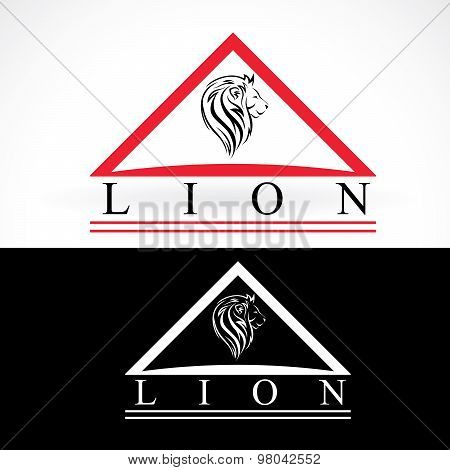 Lion Head, Vector Logo Design Mock Up Template Set. Abstract Concept Logotype, Dark And Light Colors