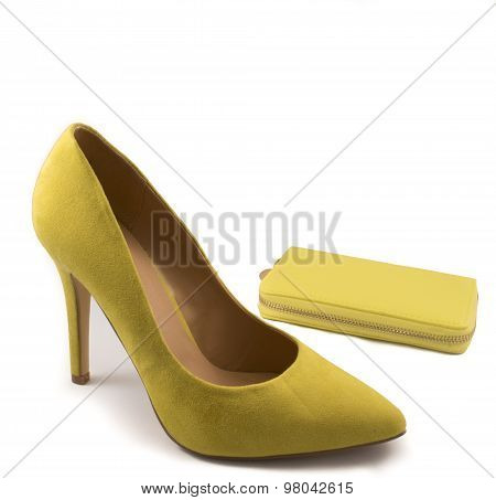Yellow Matching High Heel Shoe and Purse