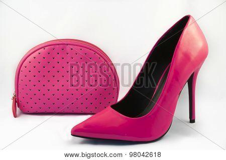 Pink High Heel Shoe and Purse