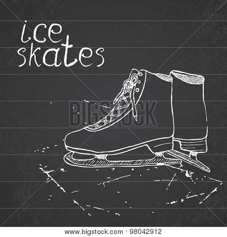 Hand Drawn Sketch Ice Skates. Drawing Sport Doodle Element Winter Sports Items. On Chalkboard Backgr