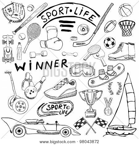 Sport Life Sketch Doodles Elements. Hand Drawn Set With Baseball Bat, Glove, Bowling, Hockey Tennis