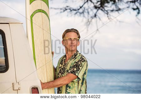 Optimistic Man With Surfboard