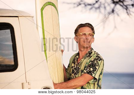 Proud Man With Surfboard