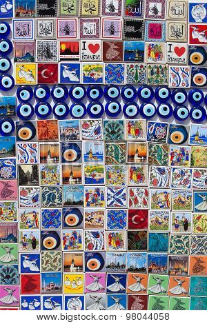 Colorful Magnet Souvenirs At A Souvenir Shop In Istanbul, Turkey