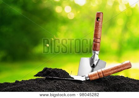 Garden tools on natural background