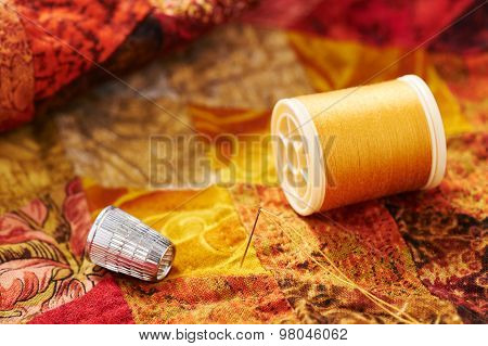 Spool Of Thread, Needle And Thimble