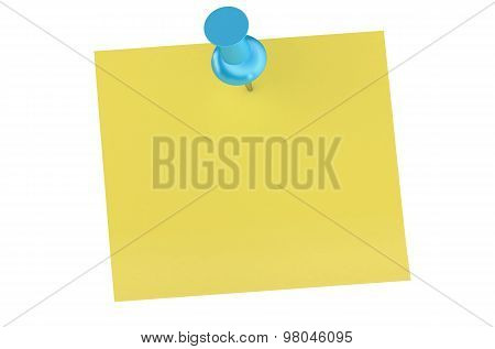 Blue Push Pin With Blank Sticky Note