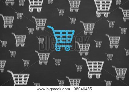 Shopping Cart Concept Drawing on Blackboard Texture