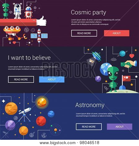 Set of flat design flyers and headers with space icons, infographics elements