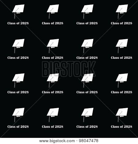 Class of 2028 White on Black Pattern Medium