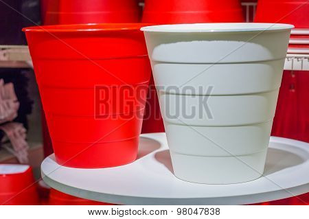 Big White And Red Color Plastic Basket