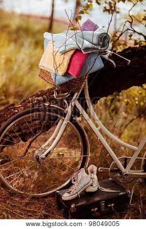 Vintage bicycle with flower and towels