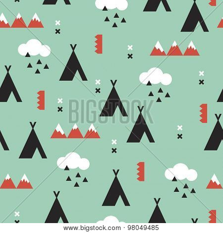 Seamless coral and mint teepee Indian summer woodland with clouds and geometric details kids illustration background pattern in vector
