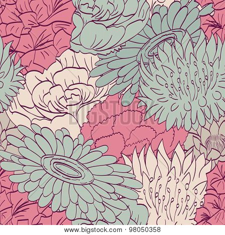Seamless pattern tracery. Begonia, carnation, gerbera, gladiolus, lotus, cornflowers. Suitable for s