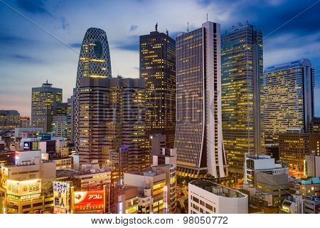 TOKYO, JAPAN - AUGUST 15, 2015: The West Shinjuku skyscraper district of Tokyo. The district is the main financial hub of the city.