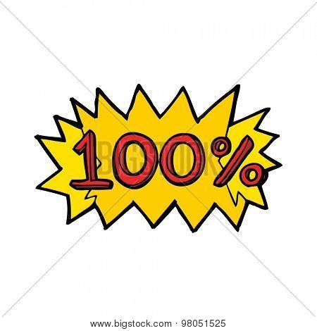 cartoon 100% symbol