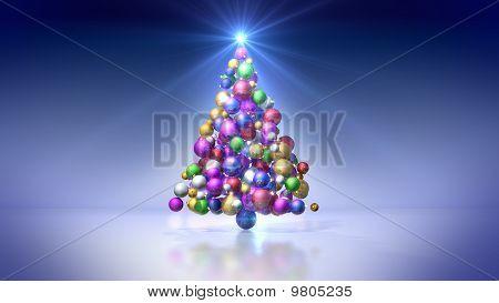 Christmas tree of colored bulbs