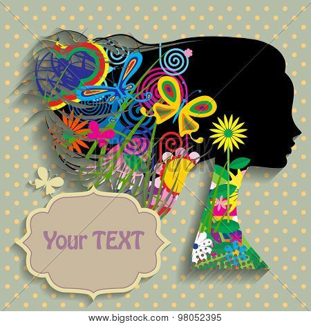 Black silhouette of the head of girl in profile with fluttering hair with fullcolor decorative elements, flowers and butterflies. Vector illustration