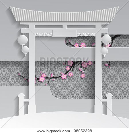 Cut paper chinese or japanese gate with branch of cherry blossom on the decorative background. Vector illustration