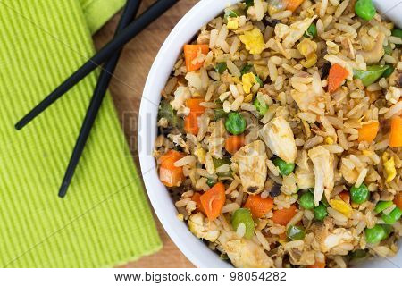 Egg Fried Chicken Rice Bowl