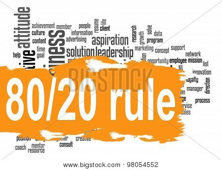 Rule 80 20 Word Cloud With Orange Banner