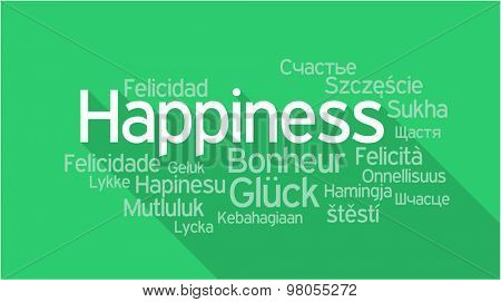 HAPPINESS in different languages, words collage vector illustration.