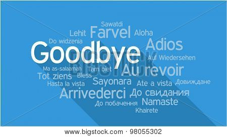 GOODBYE in different languages, words collage vector illustration.