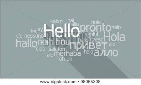 HELLO in different languages, words collage vector illustration.