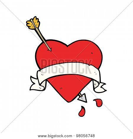 cartoon heart tattoo
