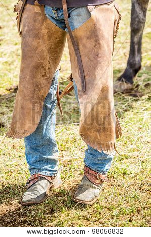 Close Up Of Cowboy's Chaps