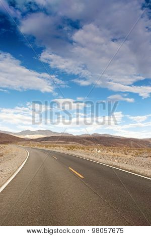 Traditional American Highway Among High Mountains To Death Valley Area.