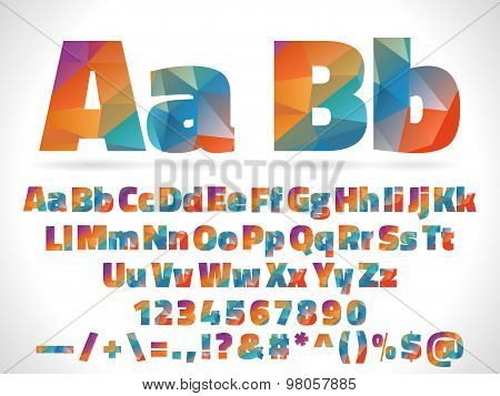 low poly style alphabet letters isolated on white background